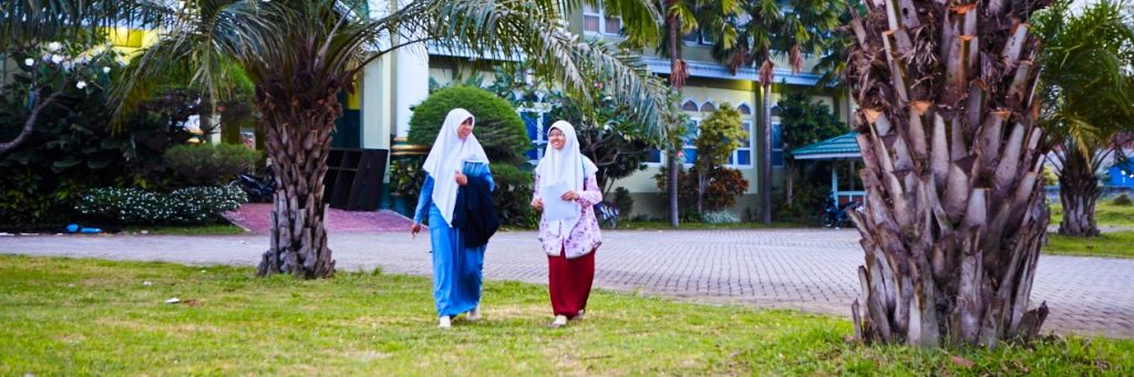 walk at unida gontor campus girl - islamic university in indonesia pharmacy